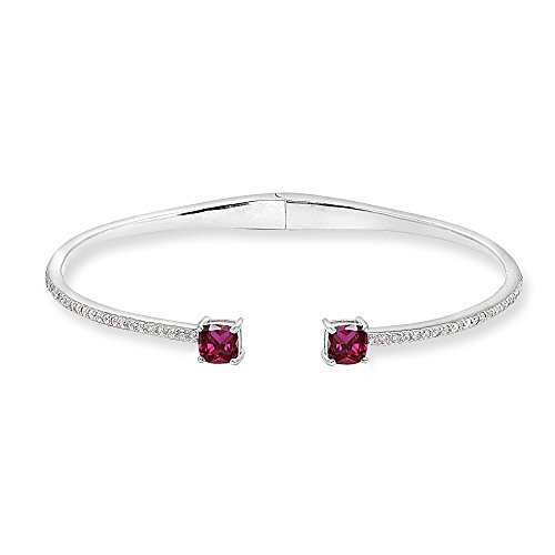 Sterling Silver Created Ruby & White Sapphire Cushion-Cut Dainty Cuff Bangle Bracelet (Ruby Cushion Cut)