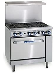 Imperial IR-6 Gas Restaurant Range 36W with (6) Open Burners & Standard Oven (227,000 BTU)