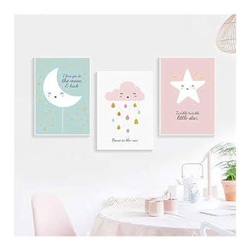 Dormitorio Estrellas Luna decoraci/ón Dulce Hava Kolari Juego de 3 im/ágenes de decoraci/ón para habitaci/ón Infantil Dibujo habitaci/ón Infantil 21 * 30cm sin Marco p/óster