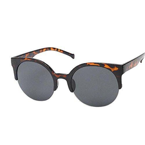 Mchoice Fashion Vintage Sunglasses Retro Cat Eye Semi-Rim Round Sunglasses for Men Women Sun Glasses - Round For Cat Eyes Eyes