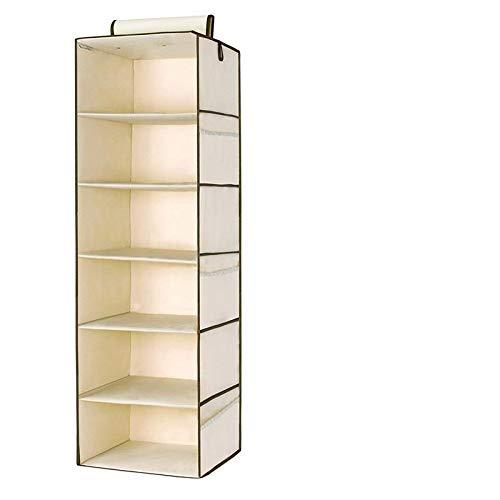 6 Section Hanging Wardrobe Organiser Garment Shelves Clothes Shoe Storage Tidy