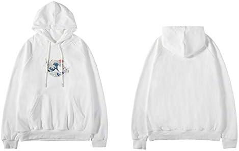 YDMZMS Herren Hoodie Gestickte Kran-dünne mit Kapuze Sweatshirts Pullover Hoodies tragen XXL Weiß