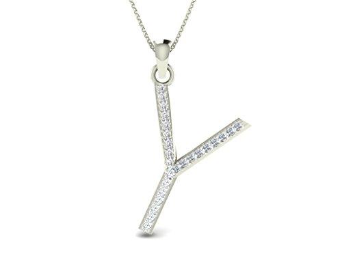 Or Blanc 14 ct Pendentifs Diamant en forme de Y Alphbet, 0.15 Ct Diamant, GH-SI, 0.86 grammes.