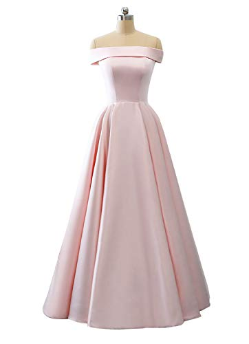 Prom Dresses Off The Shoulder Evening Dresses Satin Beaded Party Dress A-Line Long with Pocket Formal Gown Blush Pink ()