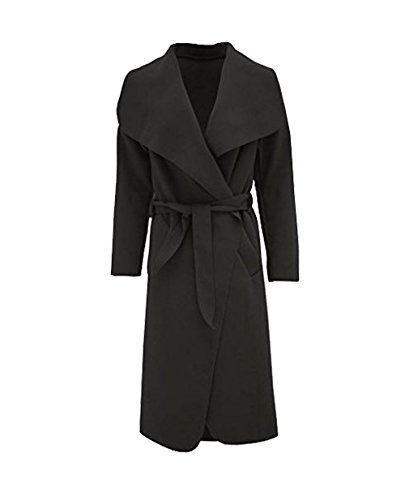 Janisramone Noir clbrit fashion Long femmes ceintur longues abaya cascade manches Cap drap veste 7qUBw7r