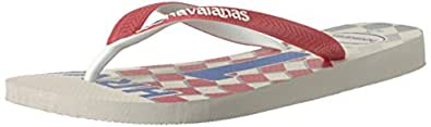havaianas Unisex-Adult Mens Teams Iii - Croatia Sandal White/Ruby Red White Size: 5-6 M US
