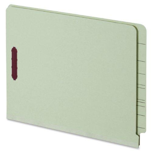Durable Green Pressboard Expansion Folders (Globe-Weis/Pendaflex End Tab Pressboard Fastener Folders, Letter Size, 1-Inch Expansion, Embedded Fasteners, Light Green, 25-Count (44705))