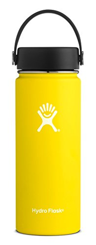 Hydro Flask 18 oz Water Bottle - Stainless Steel & Vacuum Insulated - Wide Mouth with Leak Proof Flex Cap - Lemon ()