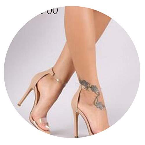 Bandage Rhinestone Ankle Strap Pumps Super High Heels 10.5 cm Square Heels,Khaki,40 (Best Cake Shop In Karachi)