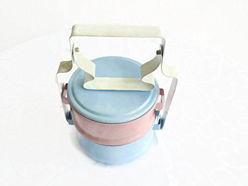 Colorful Classic Pastel Colored Thai Traditional 2-stack Lunch Box Food Carrier
