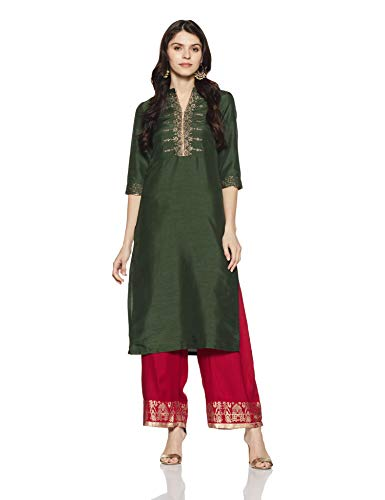 (W for Woman Straight Kurta for Women Forest Green)