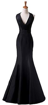 Amazon.com: Angel Formal Dress Women's Black Halter V Neck