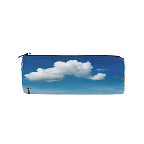Giraffes Animal Sand CloudPencil Bag Pen Case Stationery Pouch Coin Purse with Zipper Work Office