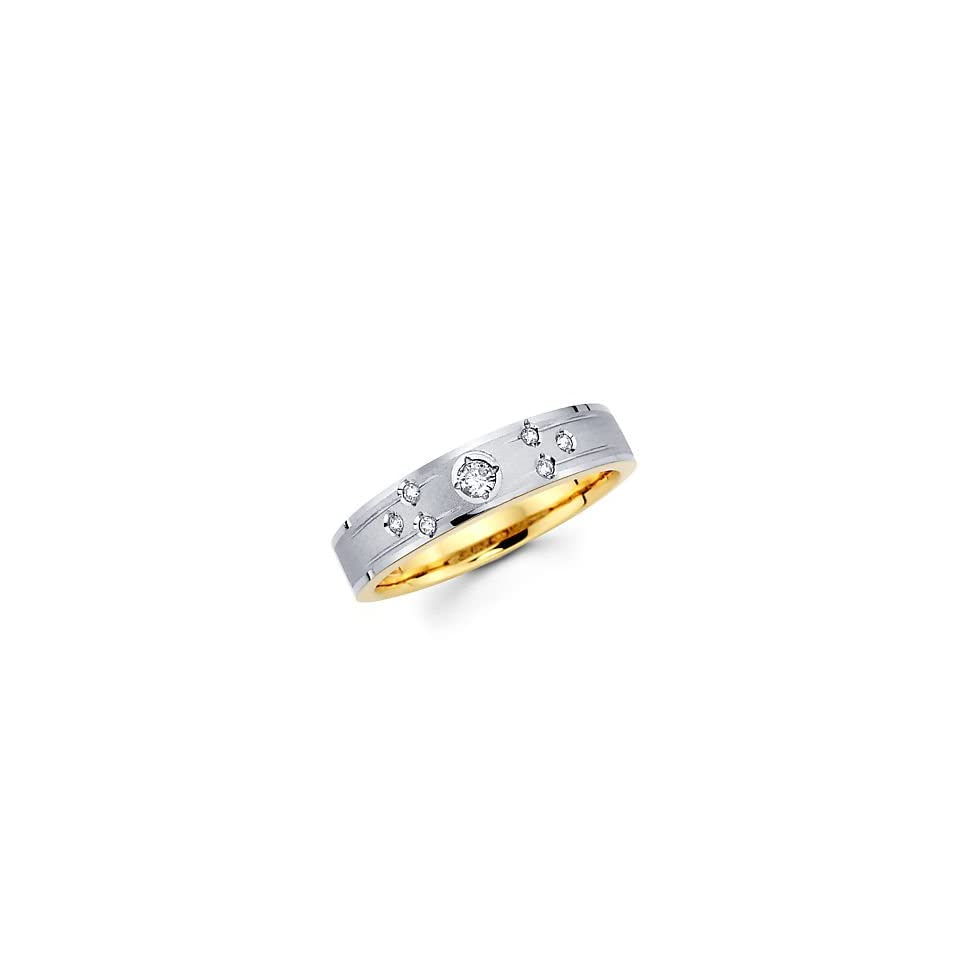 Size  12   .12ct Diamond 14k White Two Tone Gold Hers Wedding Ring Band (G H Color, I1 Clarity)