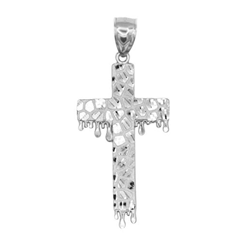 Ice on Fire Jewelry 10k White Gold Nugget Dripping Cross Pendant