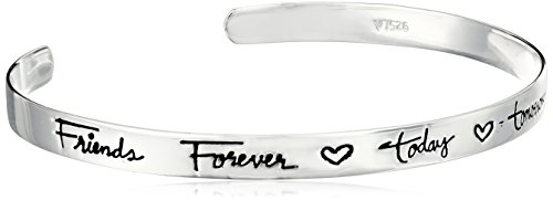 Sterling Silver Friends Forever Today Tomorrow Always Cuff Bracelet, 6.5