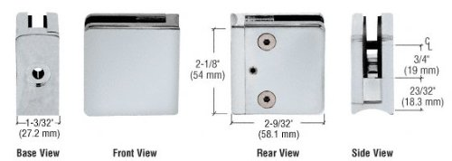C.R. LAURENCE Z610SC CRL Satin Chrome Z-Series Square Type Radius Base Zinc Clamp for 3/8