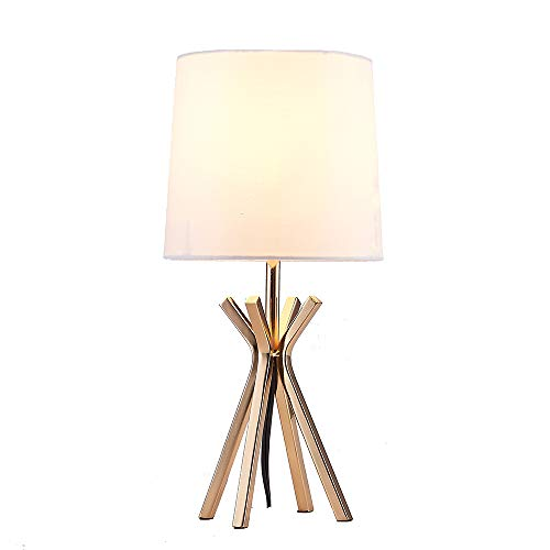 - Popilion Noble Gold Metal Base Table Lamp,Elegant Table Lamp with White TC Fabric Lampshade for Bedroom Living Room Study Room