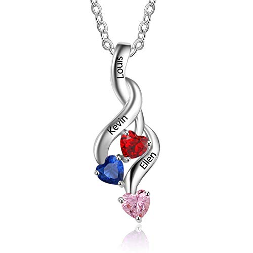 (Lam Hub Fong Personalized Mothers Necklace with 3 Simulated Birthstone Name Pendant for Mom Mother Daugher Name Necklace Mother's Day Necklace for Mom)