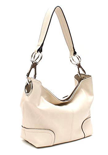 (Americana Bucket Style Hobo Shoulder Bag with Big Snap Hook Hardware)