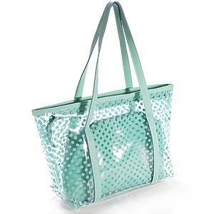 green ladies Polka Dot PVC transparent jelly beach bag detachable ...