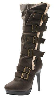 Womens Piattaforma Clearance Marrone Winter Stiletto Knee Over Stivali Spillo Alto Ladies Fur A Zip Mid Tacco Calf Economici Taglia qRwrAZqB