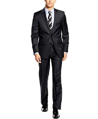 (DKNY Extra Slim Suit Charcoal Solid Wool 2 Button New Men's Suit Set (42S 35W))