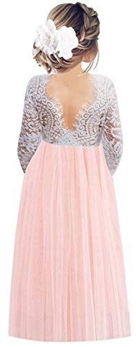 2Bunnies Girl Peony Lace Back A-Line Straight Tutu Tulle Party Flower Girl Dresses (Pink Sleeve Maxi, 12 Months)