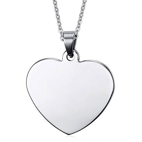 VNOX Stainless Steel Plain Heart ID Pendant Necklace (Free Engraving),Free Chain