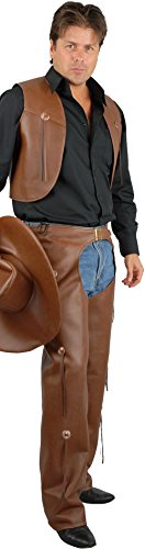 Charades Men's Plus Size Faux Leather Costume Chaps and Vest