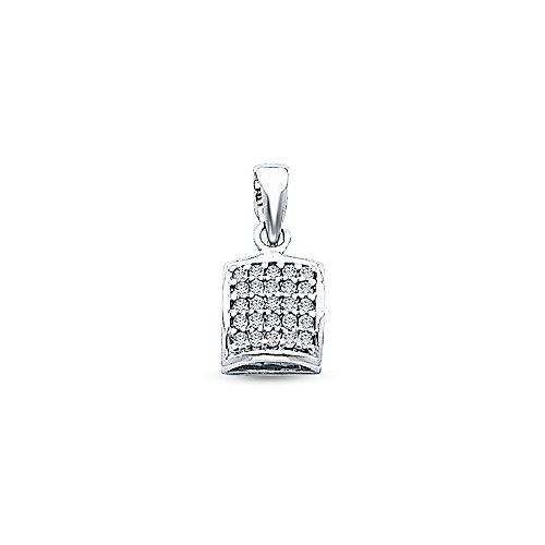 14K Yellow Gold Rounded Square Charm Pendant with Micro Pave CZ Cubic Zirconia Accent (7x7 mm)