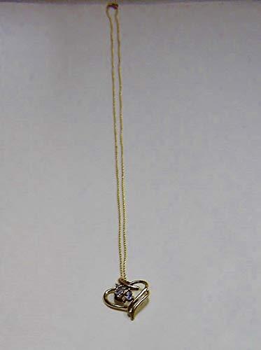 - 10K Yellow Gold Heart Pendant W/Dia & Tanzanite 18 1/4'' Necklace SD-407