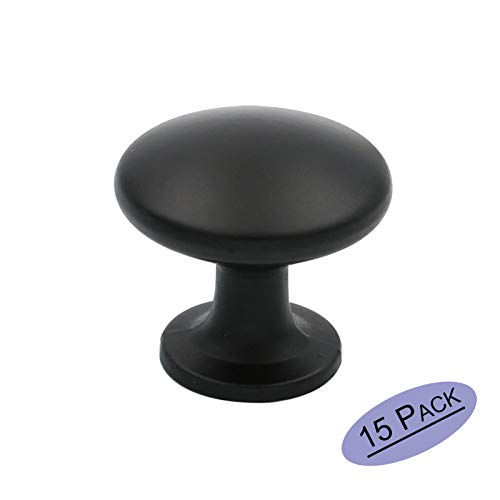 goldenwarm Cabinet Round Knobs Black Drawer Knobs Pull Handles - LS6050BK Flat Black Contemporary Round Cabinet Knob 1-1/10in Diameter 15 Pack Door Drawer Handle ()