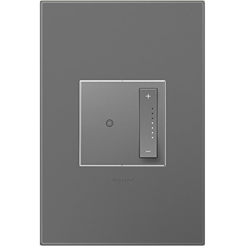 Legrand adorne sofTap Dimmer Switch, Tru-Universal and Magnesium Wall Plate, ADTP703TUM4WP
