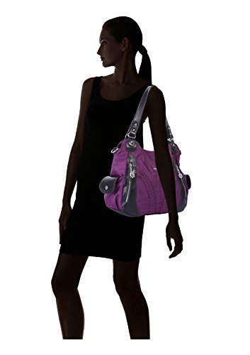 Angelkiss Women Top Handle Satchel Handbags Shoulder Bag Messenger Tote Nylon Material Purses Bag (Purple-1) by Angel Kiss (Image #6)