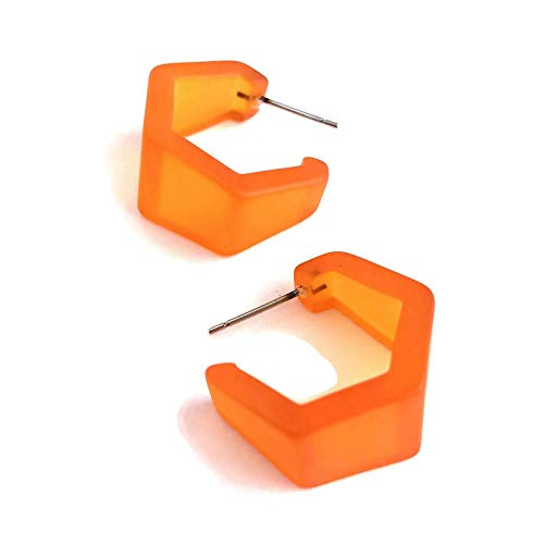Orange Hex Hoop Earrings | Vintage Frosted Lucite Hexagon Geo Hoops -