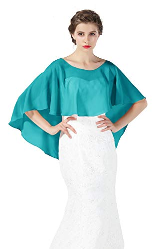 Bridal Capelet Chiffon Cape Shawls High-Low Short Tops For Women Wedding Dresses Turquoise -