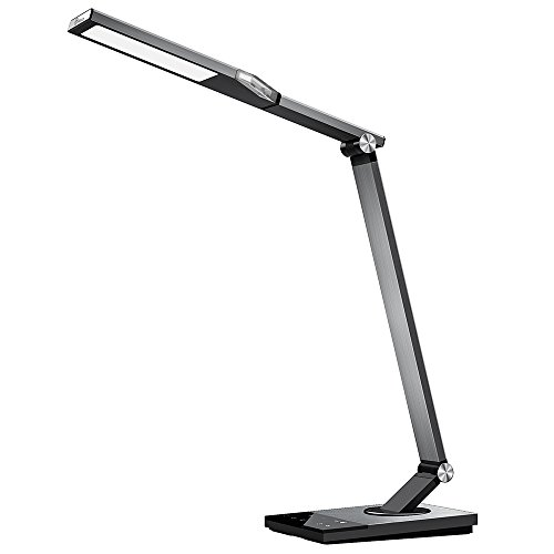 TaoTronics TT-DL16 Stylish Metal LED Desk Lamp, Office Light with 5V/2A USB Port, 5 Color Modes, 6 Brightness Levels, Touch Control, Timer, Night Light, Official Member of Philips EnabLED Licensing Program, Silver