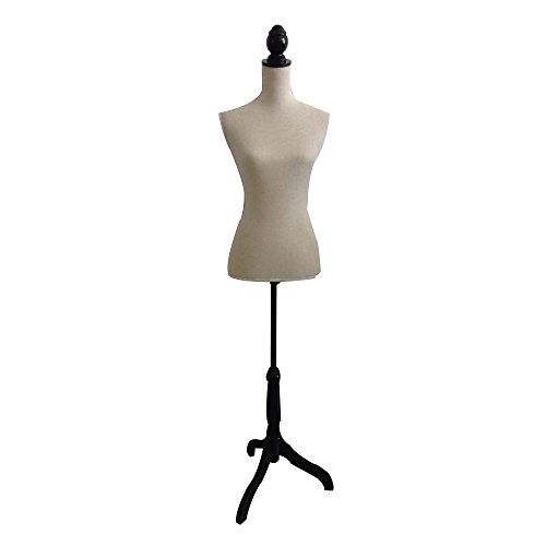 - The Urban Port Beige Female Adjustable Mannequin Torso with Wooden Tripod Stand