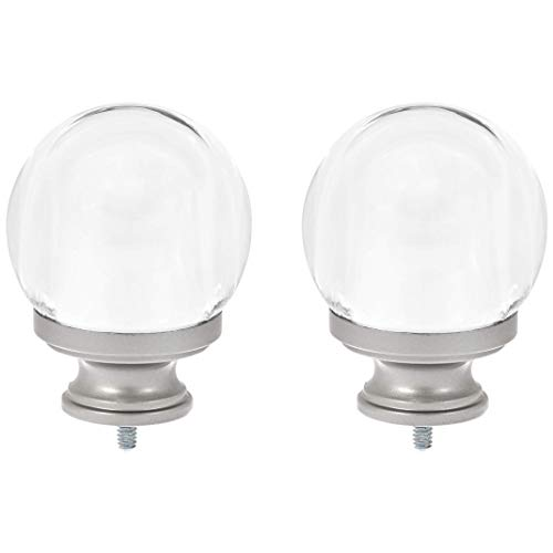 AmazonBasics Clear Acrylic Ball Curtain Rod Finials, Set of Two, ()