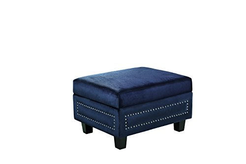 Meridian Furniture 655Navy-Ott Ferrara Velvet Upholstered Storage Ottoman with Silver Nailhead Trim and Custom Solid Wood Legs, Navy