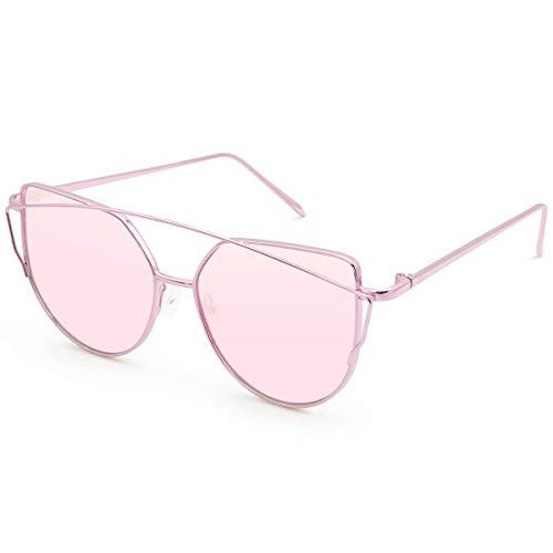 - Livhò Sunglasses for Women, Cat Eye Mirrored Flat Lenses Metal Frame Sunglasses UV400 (Purple Pink)