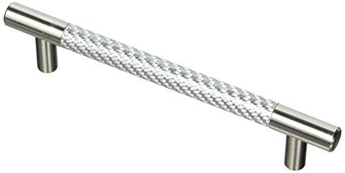 (Emtek 86388US15 Carbon Fiber Silver 5-Inch Bar Pull)