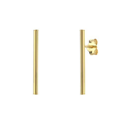 [Bar Stud Earrings - 925 Sterling Silver Plated with 18K Yellow Gold] (18k Yellow Gold Thin)