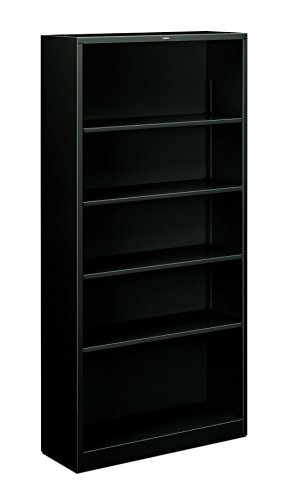 HON Metal Bookcase - Bookcase with Two Shelves, 34-1/2w x 12-5/8d x 72h, Black (HS72ABCP) (4 Shelf Black Metal Bookcase)