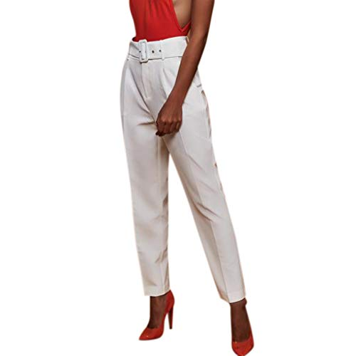(Botrong Pants for Women, Solid High Waisted Loose Pencil Pants Stretch Long Trousers with Pockets White)