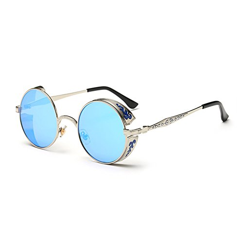 Coolsunny Vintage Hippie Retro Metal Round Circle Frame Sunglasses CS1039 (New Silver-Blue, - Mens Unique Glasses