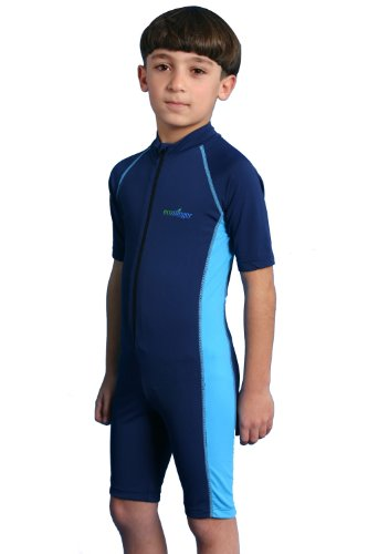 Boys One Piece Sunsuit UV Protection Swimsuit Chlorine Resistant UPF50+ Navy Blue (8)