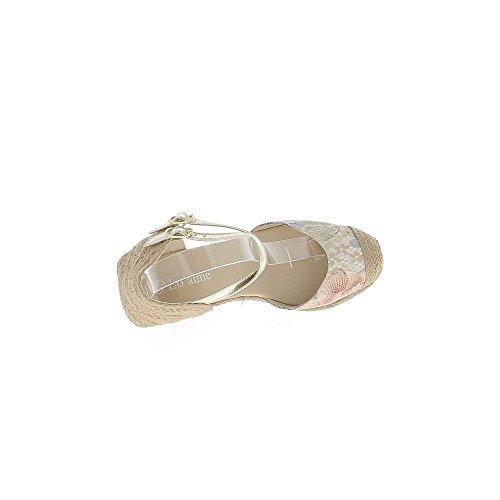 Zapatillas compensan oro y encaje de mirada de mujer beige tacón 8 cm