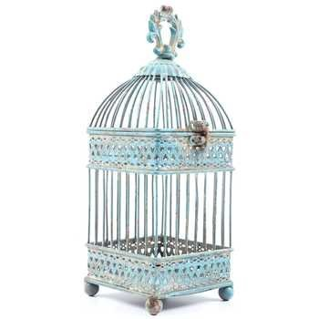 - Small Antique Blue Square Iron Bird Cage